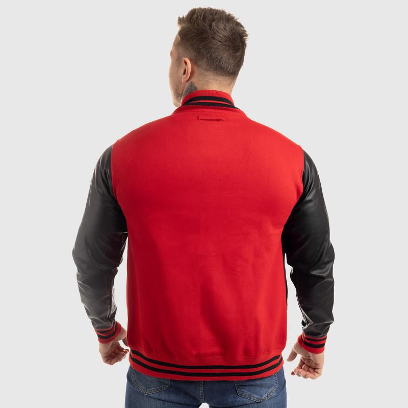 Pánska bunda Iron Aesthetics Varsity Leather, červená-2