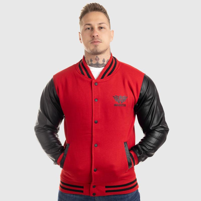 Pánska bunda Iron Aesthetics Varsity Leather, červená-5