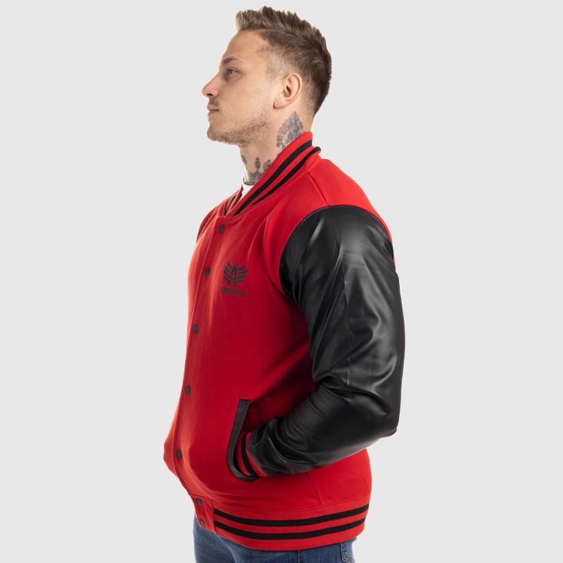 Pánska bunda Iron Aesthetics Varsity Leather, červená-6