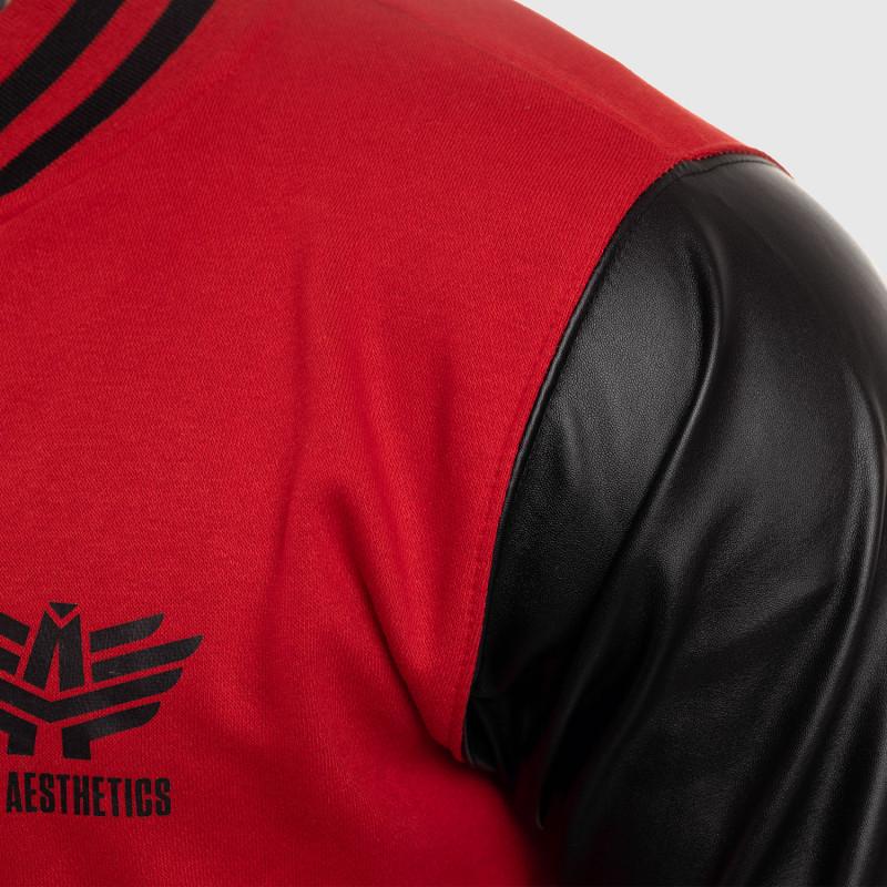 Pánska bunda Iron Aesthetics Varsity Leather, červená-7