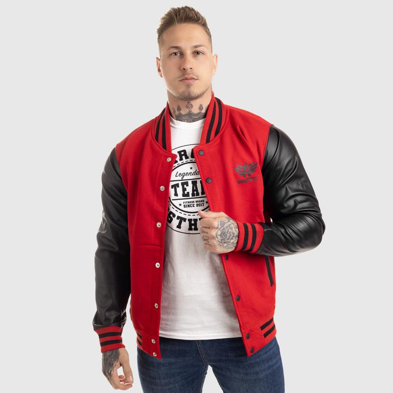 Pánska bunda Iron Aesthetics Varsity Leather, červená-8