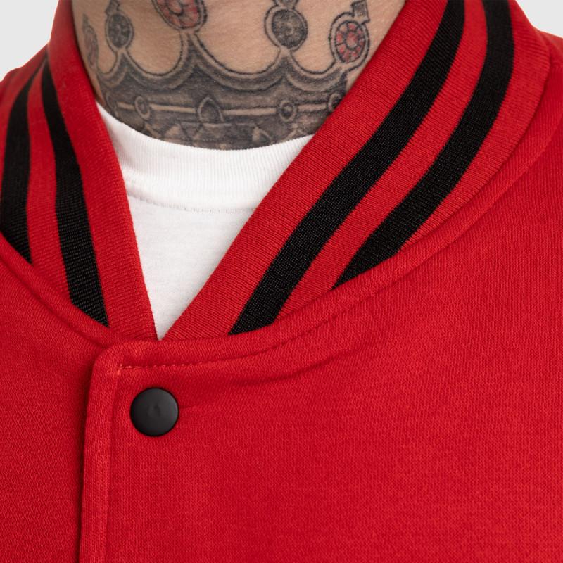Pánska bunda Iron Aesthetics Varsity Leather, červená-9