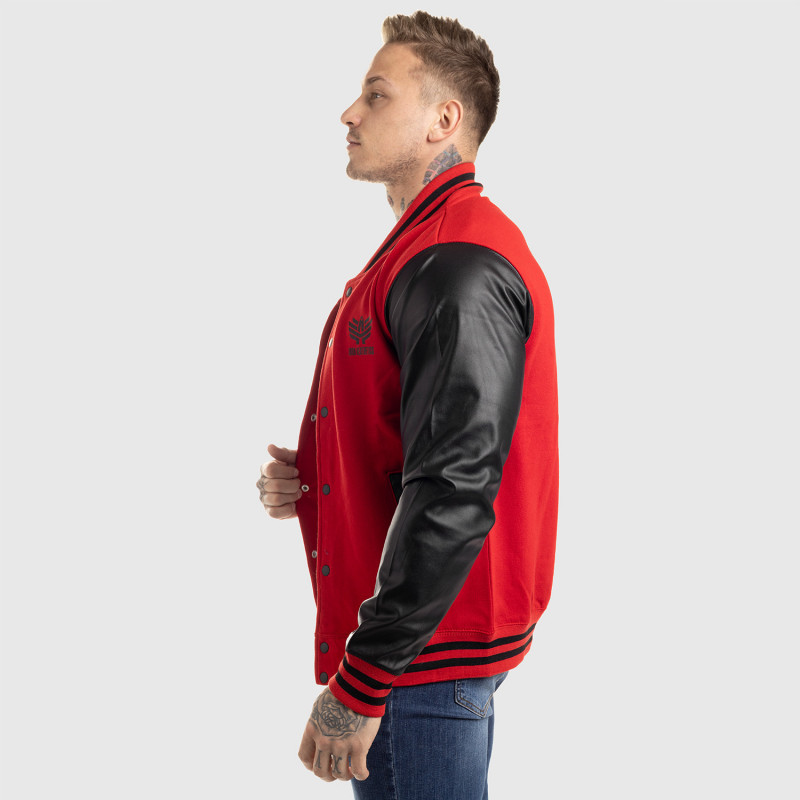 Pánska bunda Iron Aesthetics Varsity Leather, červená-10