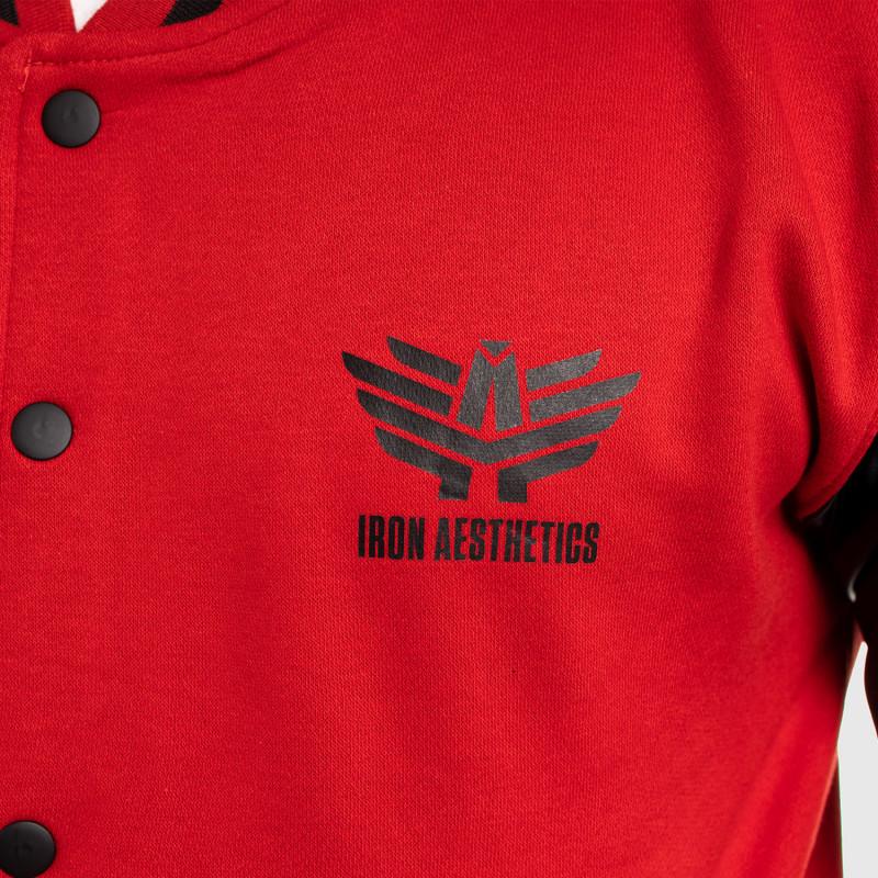 Pánska bunda Iron Aesthetics Varsity Leather, červená-11