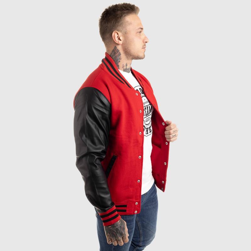Pánska bunda Iron Aesthetics Varsity Leather, červená-12