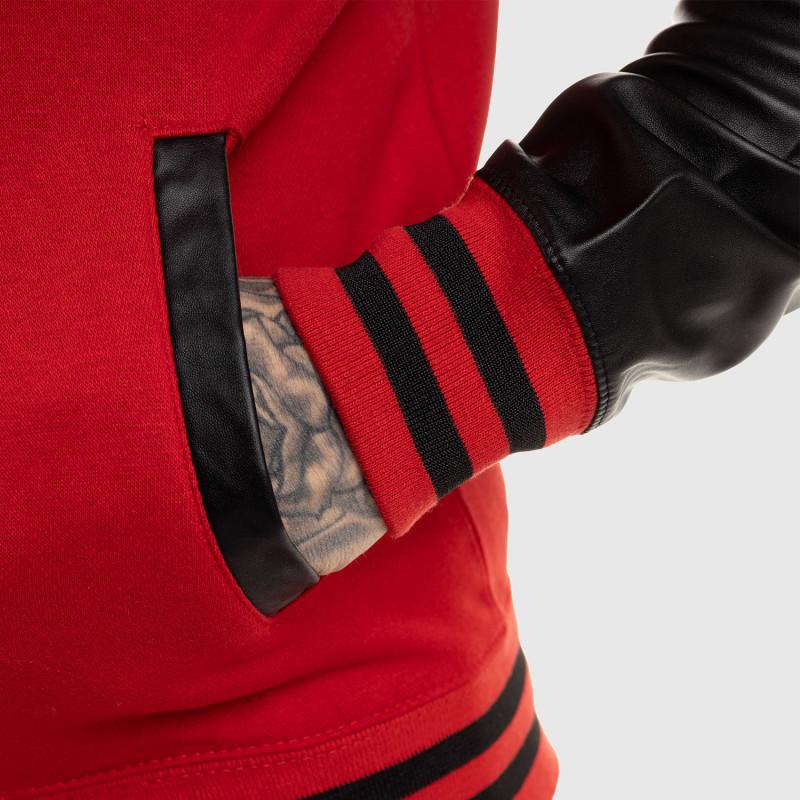 Pánska bunda Iron Aesthetics Varsity Leather, červená-13