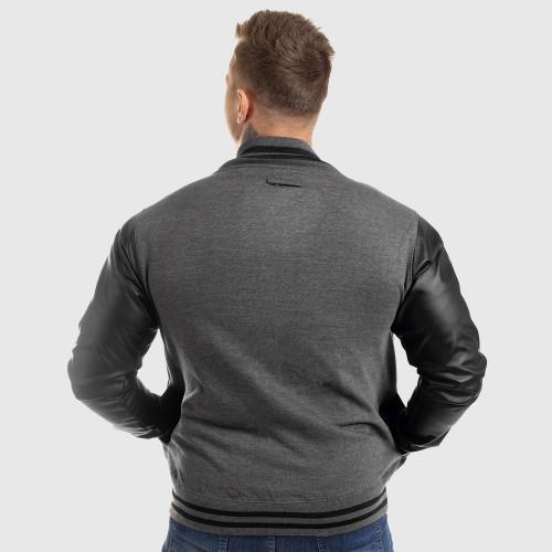 Pánska bunda Iron Aesthetics Varsity Leather, sivá