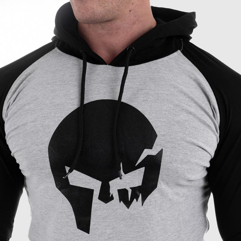 Fitness mikina bez zipsu Iron Aesthetics Skull SLEEVE, sivá-3