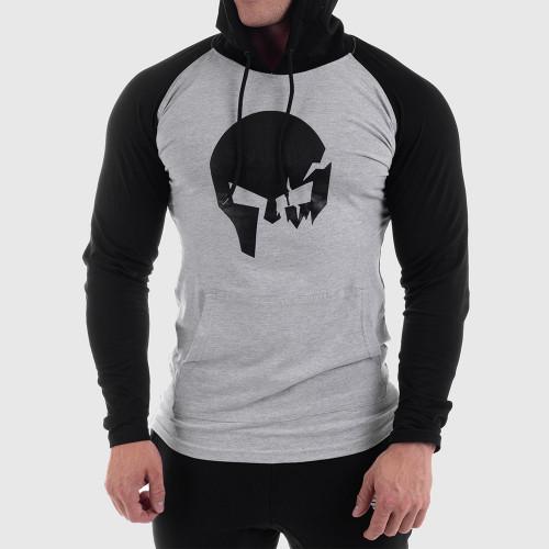 Fitness mikina bez zipsu Iron Aesthetics Skull SLEEVE, sivá
