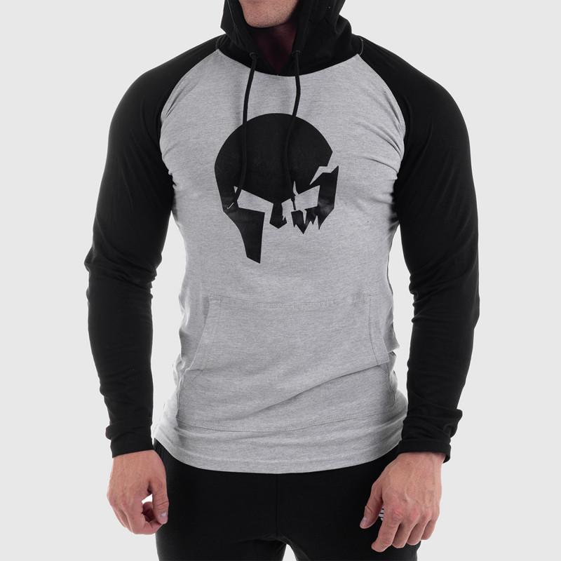 Fitness mikina bez zipsu Iron Aesthetics Skull SLEEVE, sivá-1