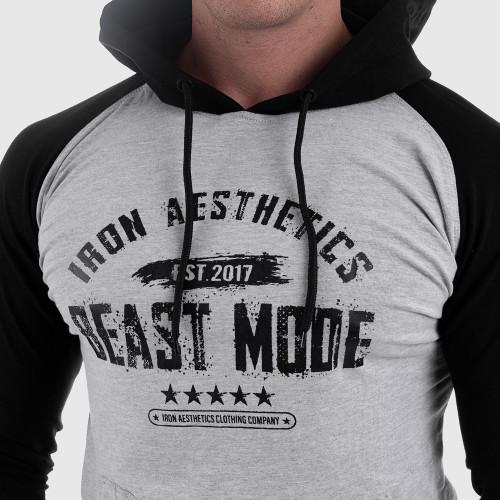 Fitness mikina bez zipsu Iron Aesthetics Beast Mode Est. 2017 SLEEVE, sivá