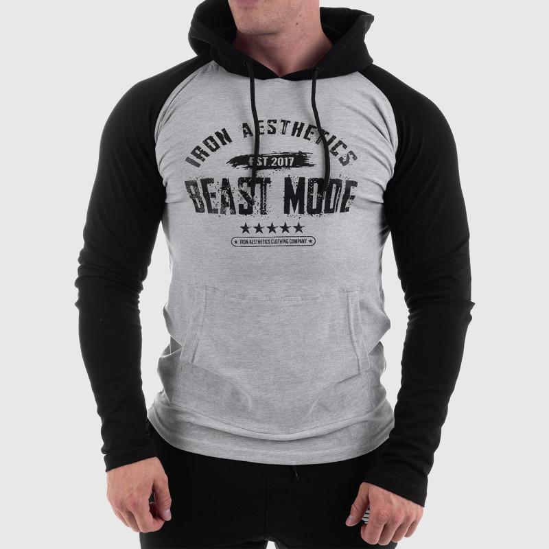 Fitness mikina bez zipsu Iron Aesthetics Beast Mode Est. 2017 SLEEVE, sivá-6