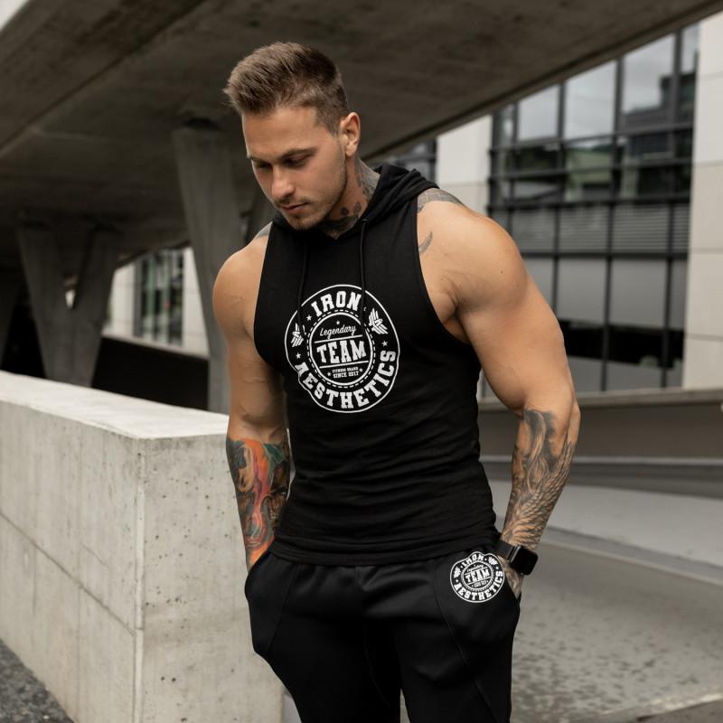 Pánske fitness TIELKO S KAPUCŇOU Iron Aesthetics Circle Star, čierne-1