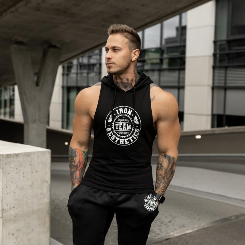 Pánske fitness TIELKO S KAPUCŇOU Iron Aesthetics Circle Star, čierne-4