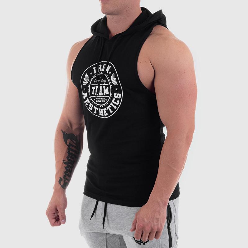 Pánske fitness TIELKO S KAPUCŇOU Iron Aesthetics Circle Star, čierne-5