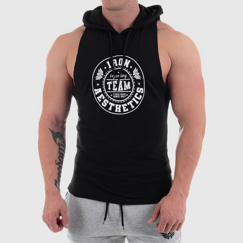 Pánske fitness TIELKO S KAPUCŇOU Iron Aesthetics Circle Star, čierne-7