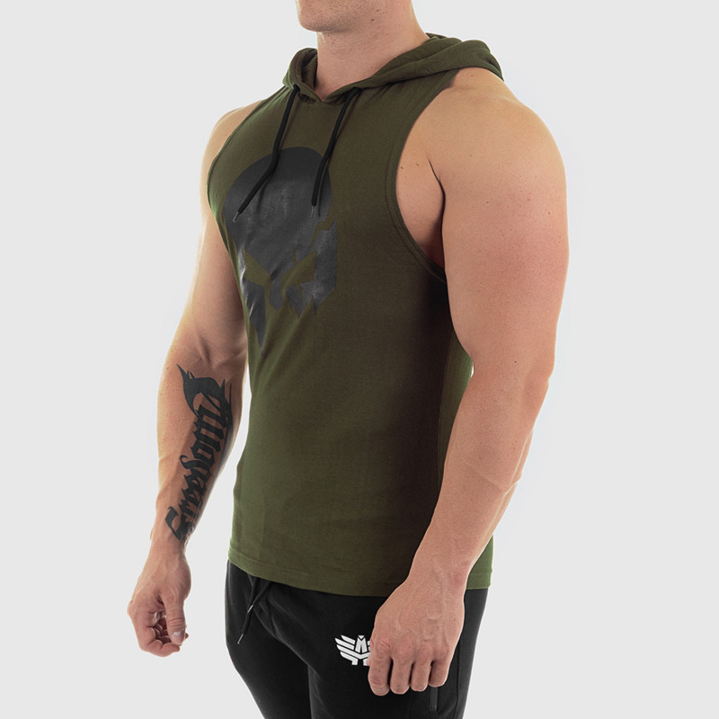 Pánske fitness TIELKO S KAPUCŇOU Iron Aesthetics SKULL, zelené-3
