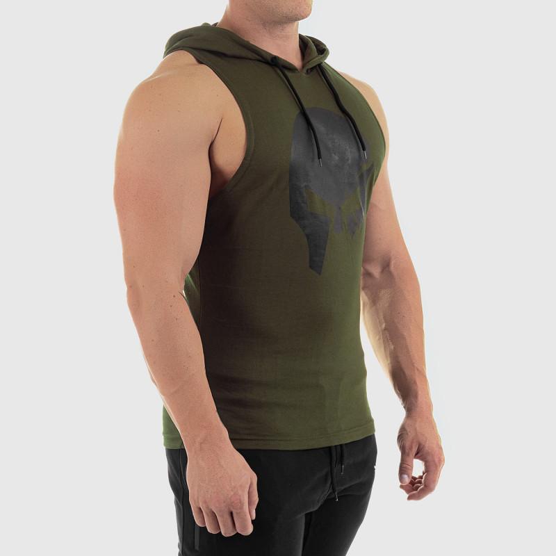 Pánske fitness TIELKO S KAPUCŇOU Iron Aesthetics SKULL, zelené-4