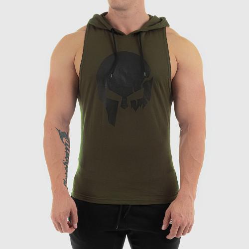 Pánske fitness TIELKO S KAPUCŇOU Iron Aesthetics SKULL, zelené
