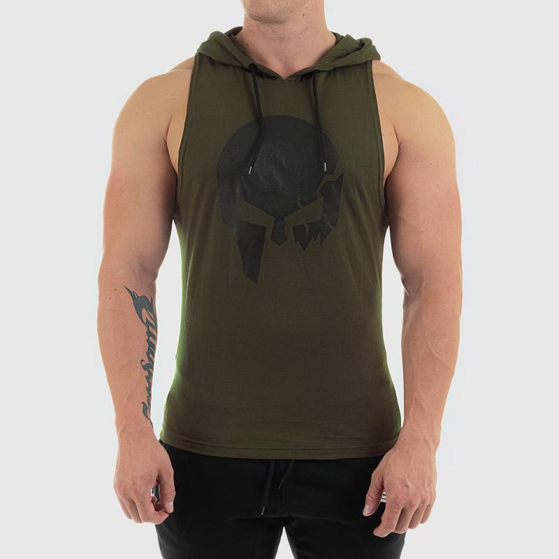 Pánske fitness TIELKO S KAPUCŇOU Iron Aesthetics SKULL, zelené-1