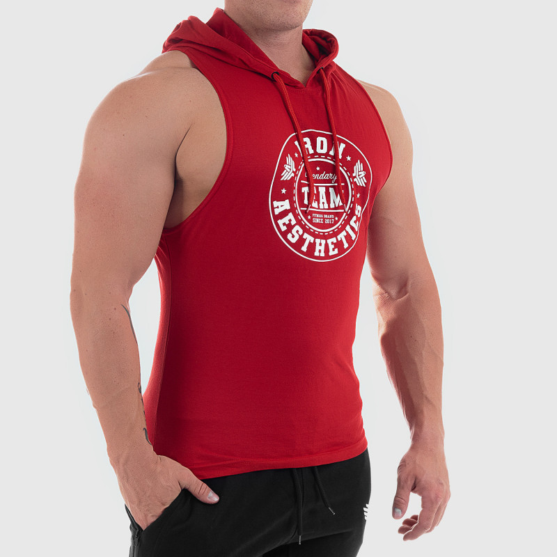 Pánske fitness TIELKO S KAPUCŇOU Iron Aesthetics Circle Star, červené-3