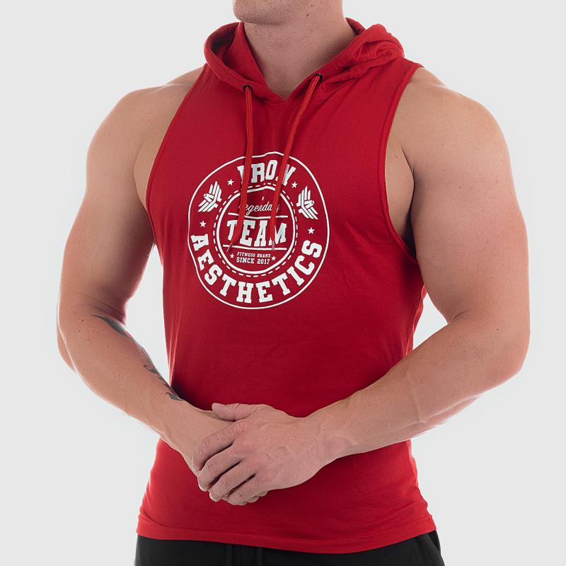 Pánske fitness TIELKO S KAPUCŇOU Iron Aesthetics Circle Star, červené-4
