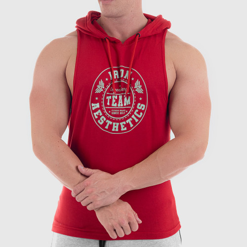 Pánske fitness TIELKO S KAPUCŇOU Iron Aesthetics Circle Star MINT, červené