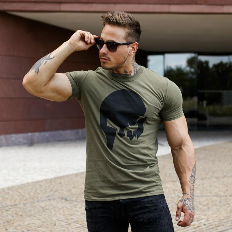 Ultrasoft tričko Iron Aesthetics Skull, vojenská zelená-3