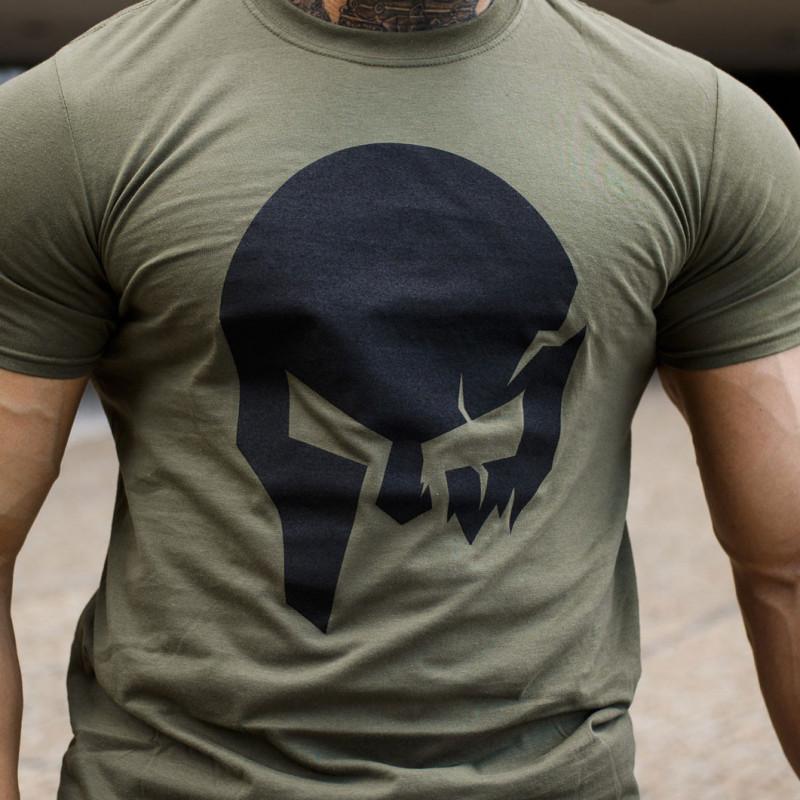 Ultrasoft tričko Iron Aesthetics Skull, vojenská zelená-5