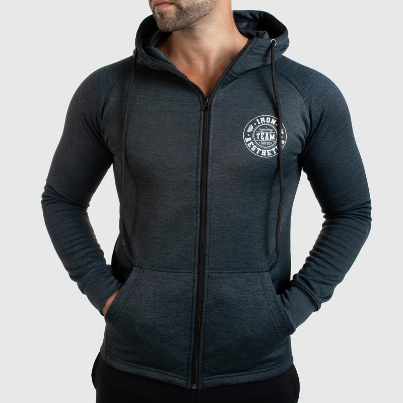 Pánska fitness mikina so zipsom Iron Aesthetics Circle Star, Grey Black-1