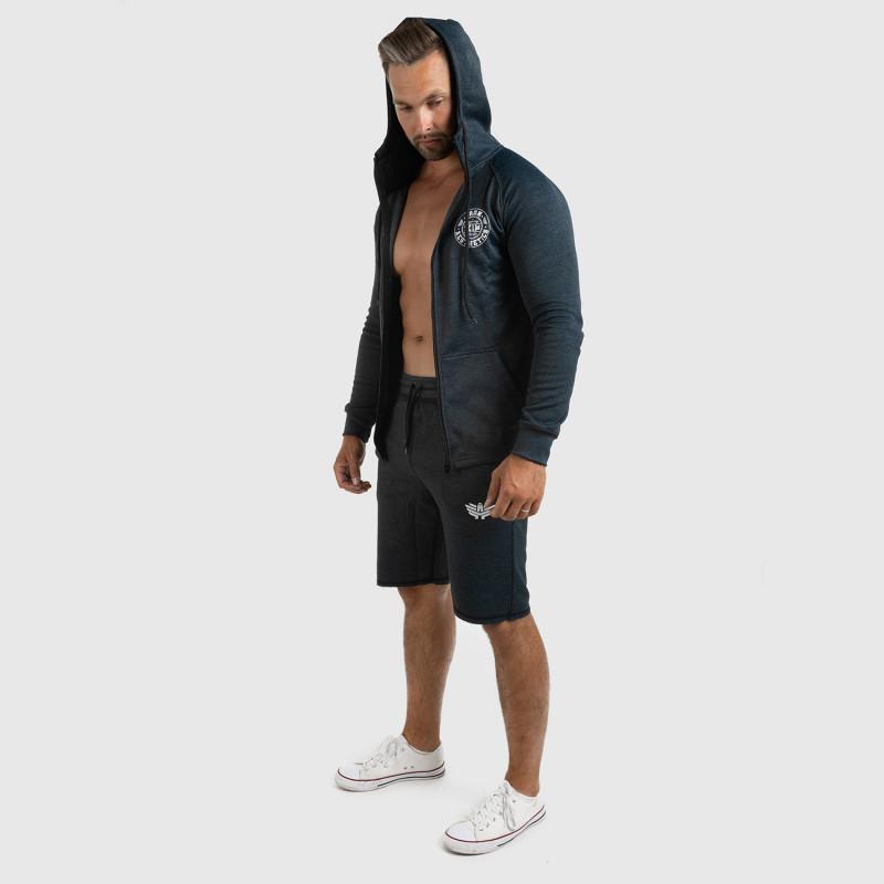 Pánska fitness mikina so zipsom Iron Aesthetics Circle Star, Grey Black-5
