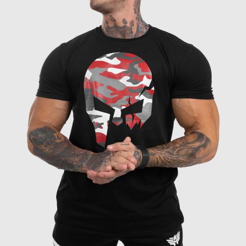 Ultrasoft tričko Iron Aesthetics Skull RED CAMO, čierne