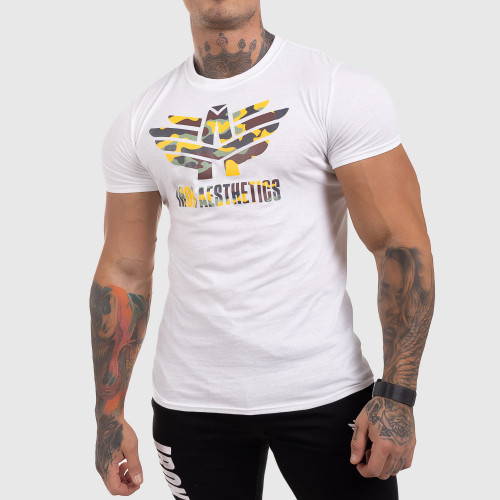 Ultrasoft tričko Iron Aesthetics Yellow Camo, biele