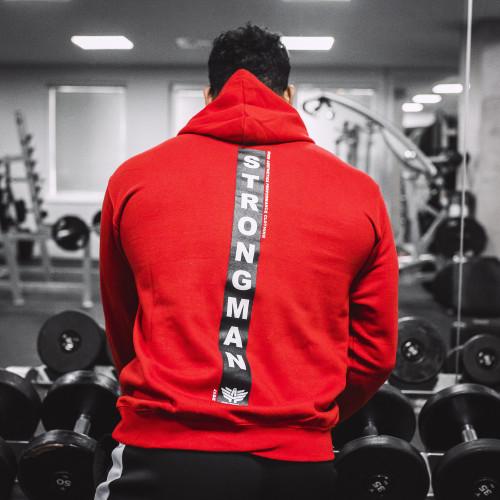 Fitness mikina bez zipsu Iron Aesthetics Strongman, červená