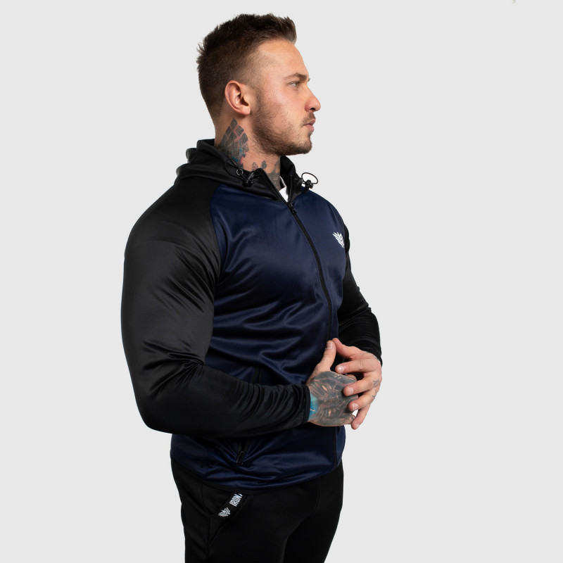 Fitness mikina so zipsom Iron Aesthetics SLEEVE, modrá-4