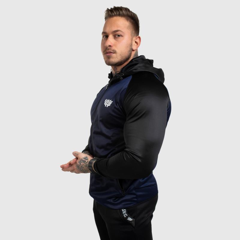 Fitness mikina so zipsom Iron Aesthetics SLEEVE, modrá-5