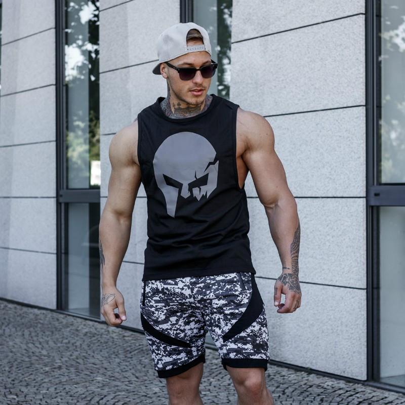 Pánske fitness tielko Iron Aesthetics Skull, čierne-5