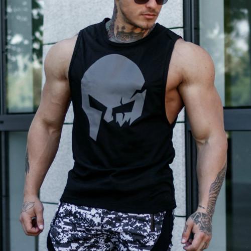 Pánske fitness tielko Iron Aesthetics Skull, čierne