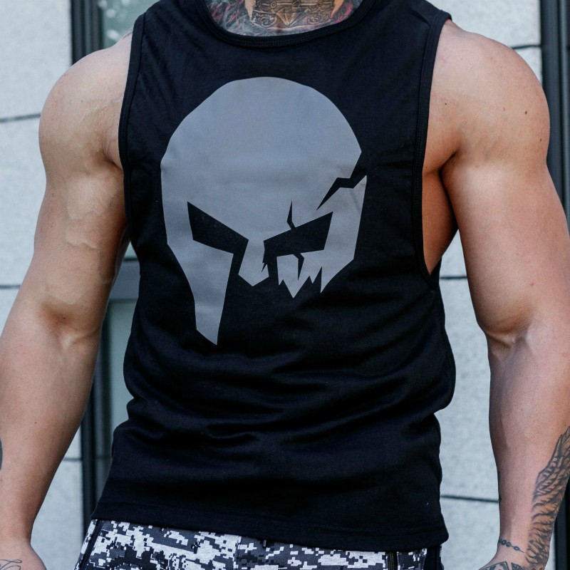 Pánske fitness tielko Iron Aesthetics Skull, čierne-3