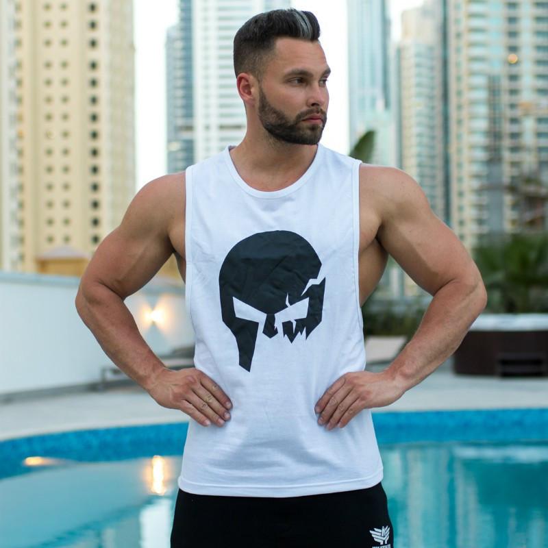 Pánske fitness tielko Iron Aesthetics Skull, biele-4