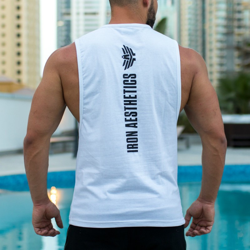 Pánske fitness tielko Iron Aesthetics Skull, biele-5