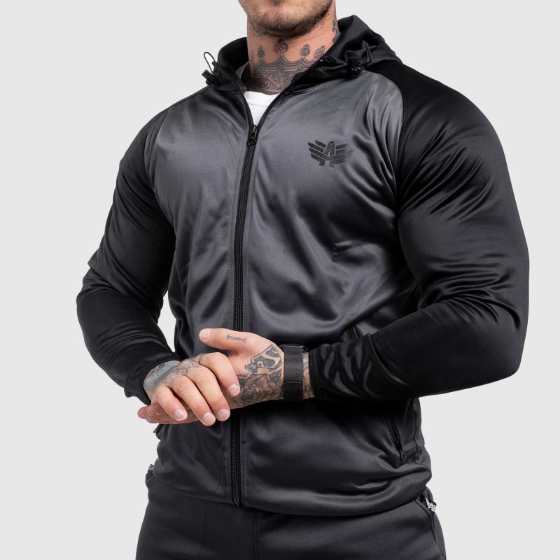 Fitness mikina so zipsom Iron Aesthetics SLEEVE, sivá-1