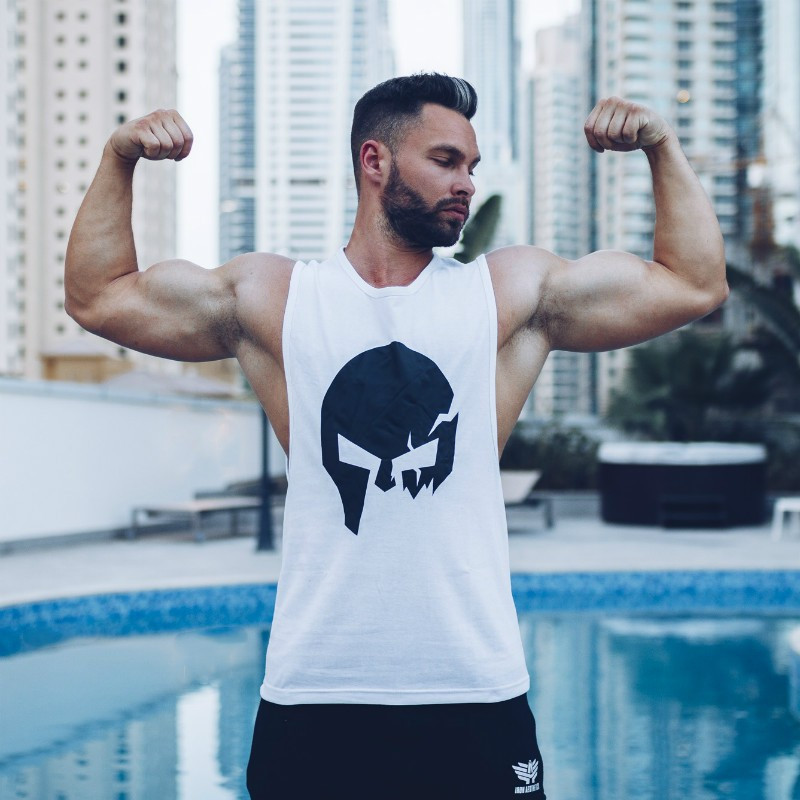 Pánske fitness tielko Iron Aesthetics Skull, biele-6