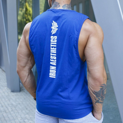 Pánske fitness tielko Iron Aesthetics Skull, modré