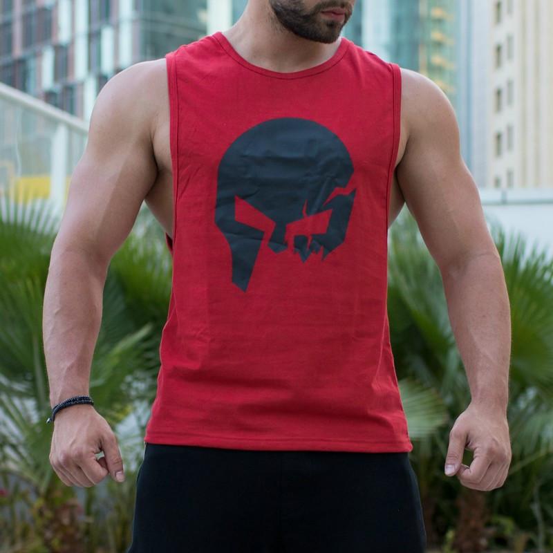 Pánske fitness tielko Iron Aesthetics Skull, červené-3