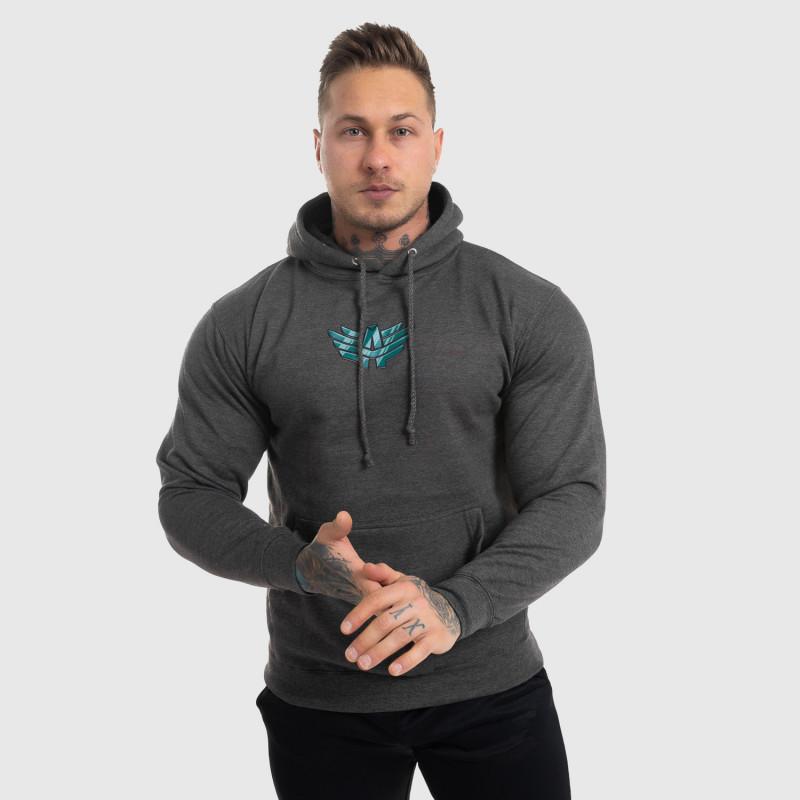 Fitness mikina bez zipsu Iron Aesthetics Fist, sivá-2
