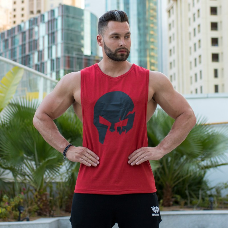 Pánske fitness tielko Iron Aesthetics Skull, červené-5