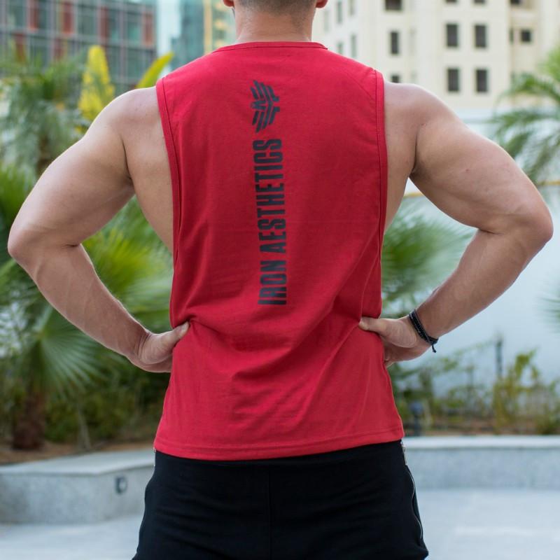 Pánske fitness tielko Iron Aesthetics Skull, červené-4