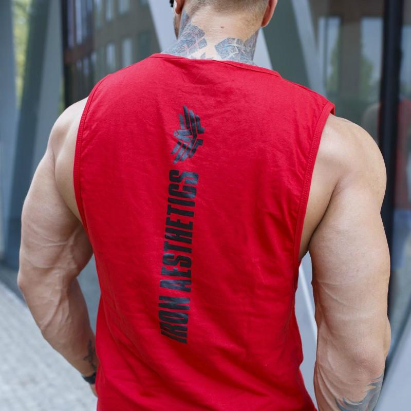 Pánske fitness tielko Iron Aesthetics Skull, červené-2
