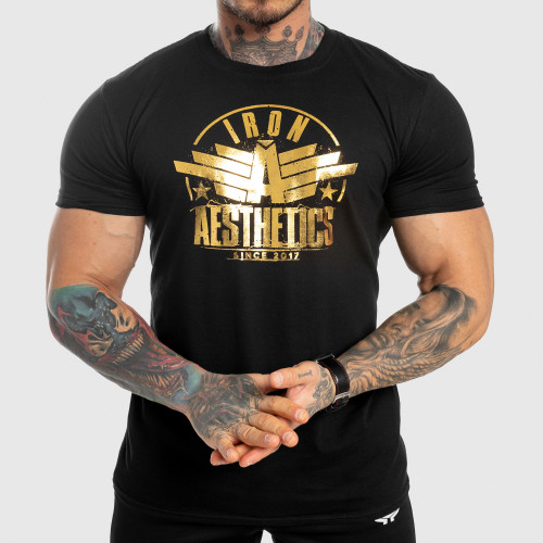 Pánske fitness tričko Iron Aesthetics Force, black&gold